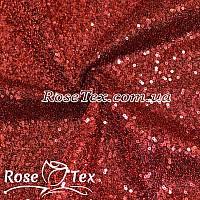 Пайеточная ткань густая с люрексом красный