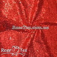 Пайеточная ткань густая насыщенный красный