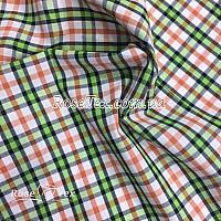 Рубашка принтованная клетка зелено-оранжевая 6мм