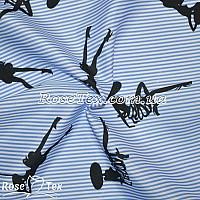 Рубашка принтованная дамы на голубой полоске