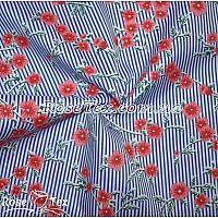 Рубашка принтованная соцветия на полоске электрик