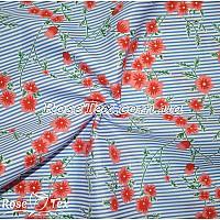 Рубашка принтованная соцветия на голубой полоске