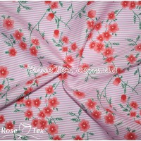 Рубашка принтованная соцветия на розовой полоске