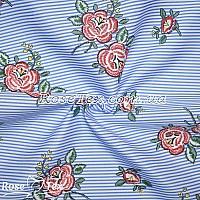 Рубашка принтованная красные цветы на голубой полоске