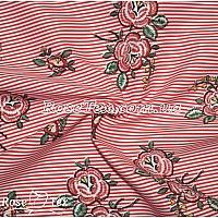 Рубашка принтованная красные цветы на красной полоске