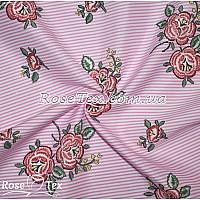 Рубашка принтованная красные цветы на розовой полоске