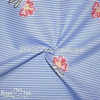 Рубашка принтованная цветы на голубой полоске