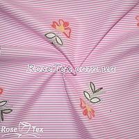Рубашка принтованная цветы на розовой полоске