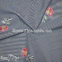 Рубашка принтованная цветы на темно-синей полоске