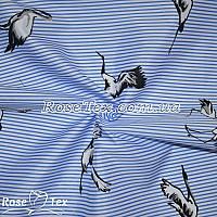 Рубашка принтованная журавли на голубой полоске