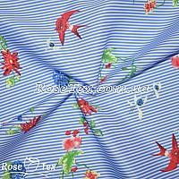 Рубашка принтованная разноцветные цветы на голубой полоске