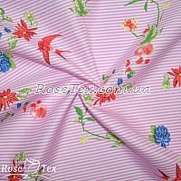 Рубашка принтованная разноцветные цветы на розовой полоске