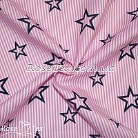 Рубашка принтованная звезды на розовой полоске