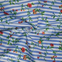 Рубашка принтованная цветы на голубой полоске 5мм