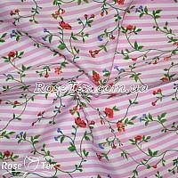 Рубашка принтованная цветы на розовой полоске 5мм