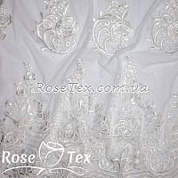 Сетка вышивка розы белый
