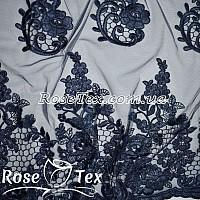 Сетка вышивка розы темно-синий