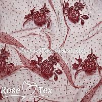 Сетка стрейч флок напыление розы бордо