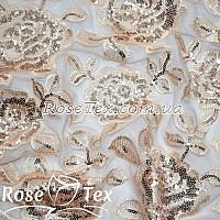 Сетка вышивка с пайетками розы светло-бежевый