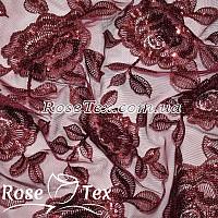 Сетка вышивка с пайетками розы бордо