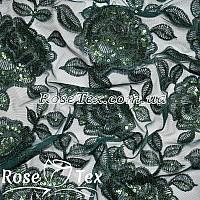 Сетка вышивка с пайетками розы бутылка