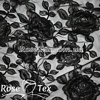 Сетка вышивка с пайетками розы черный