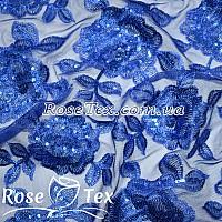 Сетка вышивка с пайетками розы электрик