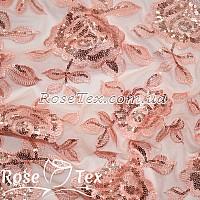 Сетка вышивка с пайетками розы персик