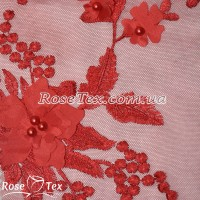 Сетка вышивка цветы красный