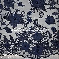 Сетка вышивка цветы темно-синий