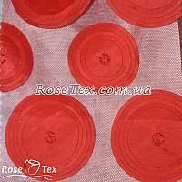 Сетка вышивка круги красный