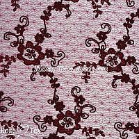 Сетка вышивка цветы бордо