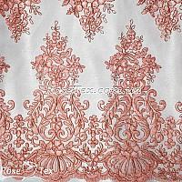 Сетка вышивка соцветия персик