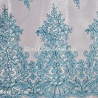 Сетка вышивка соцветия голубой
