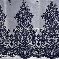 Сетка вышивка соцветия темно-синий