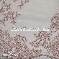Сетка вышивка цветы бледно-розовый