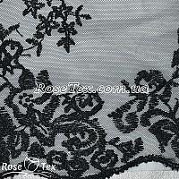 Сетка вышивка цветы черный