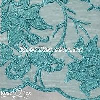 Сетка вышивка лилии бирюзовый