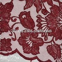 Сетка вышивка лилии бордо