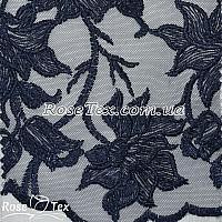 Сетка вышивка лилии темно-синий