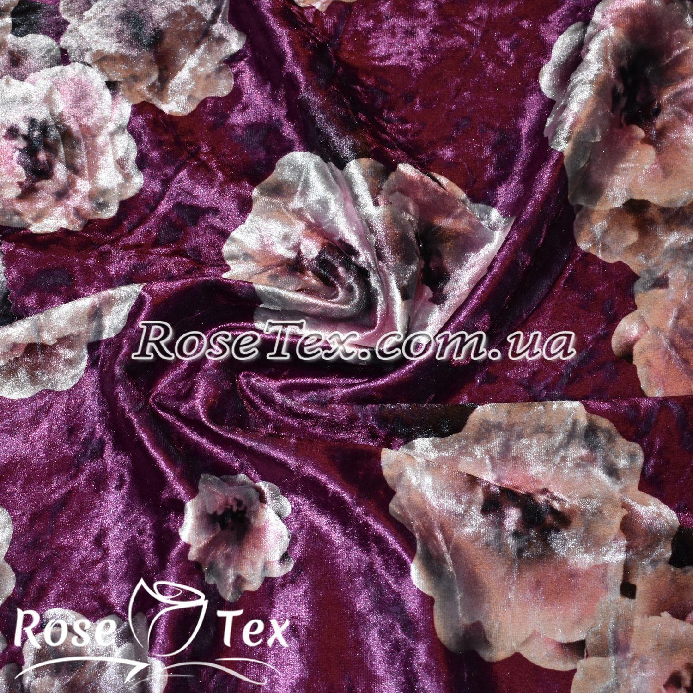 Купити тканину Велюр (бархат) принт пудра квіти на яскраво ... dd36a35429747
