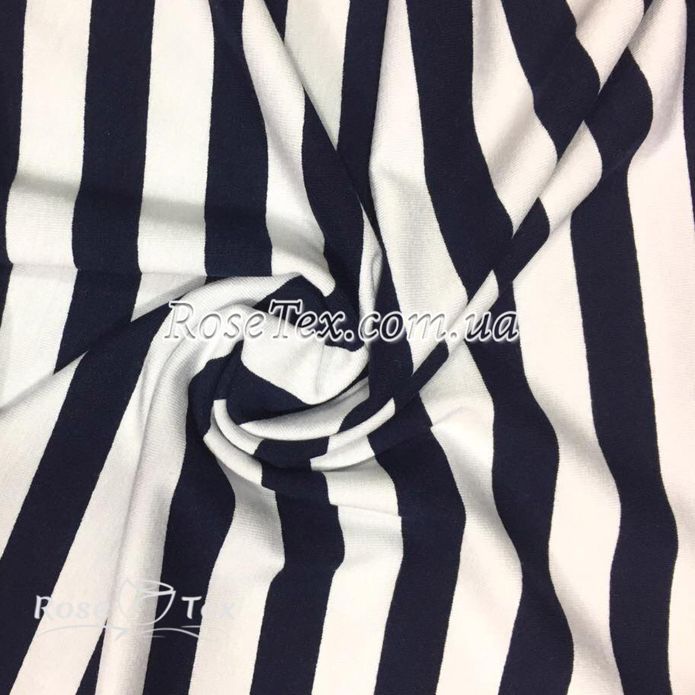 Купити тканину Віскоза принт полоска біла-темно-синя 15мм  оптом і в ... 352f67593b4fd